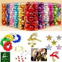 Wholesale tree bell ornaments - 24pcs barrle 4cm Christams Tree Balls Ornaments Bells Reindeer Star Pendant XMAS Ribbons Party Decorations Accessories Gifts WX9-181