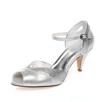 Wholesale Kitten Heel Evening Shoes Silver - 6.8cm High Silver Color Special Design Party Shoes Bridal Shoes Wedding Dress Shoes Handmade Shoes Evening Shoes Prom Party Shoes Size35- 42