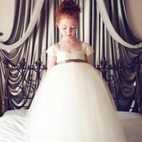 Wholesale cute off shoulder dresses - 2017 Cute Pretty 3 Colors Green purple White Flower Girls Dresses Wedding Princess Girl Pageant Gowns Full Length Tulle Kids Dresses MC0388