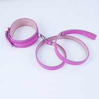 Wholesale Restraint Leash Adult Toy - Pink Leather Bdsm Fetish Bondage Sex Collar And Leash Adult Game Restraint Collars Sex Toys Slave Collar BDSM Neck Collar for females