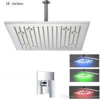 Wholesale 16 Inch Shower Set - 16 inches led shower faucet set, hot and cold water mixer with led shower