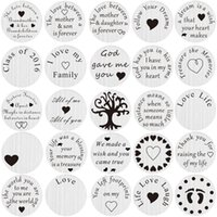 Gros-20pcs / lot Mix design en acier inoxydable Floating Médaillon Charms Plaque flottante Plate For Living 30mm Médaillon
