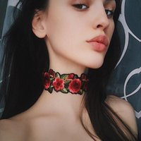 New Design Personality Safflower Embroidery Necklace Punk Fashion Rose Flower Choker Colar para as mulheres HD-022
