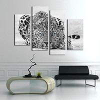 Wholesale Oil Leopard Animal - 4 Panel Wall Art Painting Blue Eyed Leopard Prints On Canvas The Picture For Living Room Home Modern Decoration Ready to Hang Gifts
