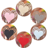 Wholesale Table Shape Cutting - 100pcs Escort Laser Cut Love Heart Shaped Table Mark Wine Glass Name Place Cards for Wedding Party Decoration Products Supplies Decor
