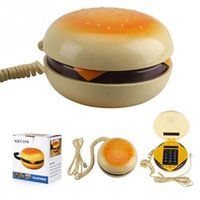 Wholesale Funny Christmas Flash - 2017 Durable Funny Design Novelty Juno Hamburger Cheeseburger Burger Corded Phone Telephone Kids Toy Christmas Gift