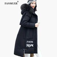 Wholesale Womens Long Duck Down Coats - Wholesale- Fanmuer 2017 Winter jacket women fur winter coat hooded womens clothing jackets long woman cotton parka jaqueta feminina invern