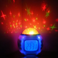 Wholesale Led Star Projector Night Light - Colorful Music Starry Star Sky Projection projector with Alarm Clock Calendar Thermometer Christmas Night light H535
