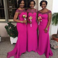 Wholesale Trendy Long Green Dress - Latest 2017 African Style Mermaid Bridesmaid Dresses Hot Pink Bateau Neck Capped Sleeves Court Train Newest Trendy Maid of Honor Dresses