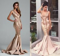 Wholesale Embroidery Collection - Tony Chaaya Applique Mermaid Prom Formal Dresses 2018 Walter Collection Gold Sequin Embroidery Detail Saudi Arabia Dubai Evening Dresses