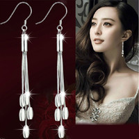 Wholesale Aretes Zirconia - Long Tassel Earrings For Women 30% 925 Sterling Silver Jewelry Women New Bohemian Style Earrings Drop Ear Jewelry Fashion New Aretes