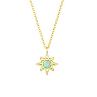 Wholesale Gifts For Bridesmaids - Wholesale 10Pcs lot 2017 Stainless Steel Jewelry Pendant North Star With Blue Opal Stone Gold Chains Necklaces For Women Bridesmaid Gifts