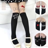 Wholesale Panty Leggings - 2015 Fashion Mickey hello ketty baby girls Velvet Socks spell panty hose socks boneless leggings leg kids Dance socks V15050403
