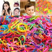 Wholesale Tie Clips For Kids - 3000pcs bag Rubber Rope Ponytail Holder Elastic Hair Bands Ties Braids Plaits Hair Clip Headband Hair Accessories for Girls kids