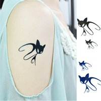 Wholesale Tattoo Legs Cat - New Arrival Harajuku Personality Tattoo Waterproof Cover A Scar Body Painted Cartoon Cute Cat Tattoo Stickers HC13 Free Shipping