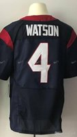 Wholesale Football Pick - cheap Men's new 4# Deshaun Watson football jerseys 100% stitched Navy Blue White Red 2017 Draft Pick Game Elite rugby Jersey