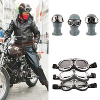 Wholesale Helmet Pilot Goggles Biker - Vintage Motorcycle Carting Goggles Glasses Mirror Pilot Biker Helmet Sunglasses Scooter Cruiser Glasses Off-Road Motocross Racing Eyewear