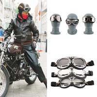vintage yarış toptan satış-Vintage Motosiklet Carting Gözlük Gözlük Ayna Pilot Biker Kask Güneş Gözlüğü Scooter Cruiser Gözlük Off-Road Motocross Yarışı Gözlük