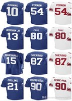 Maglia da uomo Donna Youth # 21 Landon Collins 80 Victor Cruz 10 Eli Manning 13 Odell Beckham jr 87 Shepard 90 Pierre-Paul Jerseys