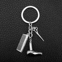 Wholesale Comb Holder - Hair Dryer Scissor Comb Keychain Keyring - Women Bag Pendants Jewelry Car Key Chain Ring Holder Chain - Hairdresser Gift
