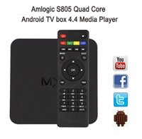 Großhandel MX Amlogic S805 Quad Core TV Box Android 4.4 Kitkat H.265 Wifi Miracast Airplay HDMI 1GB RAM 8GB ROM Media Player kostenloser Versand