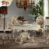 No carved dining tables - European antique dining room furniture hand carved dining room set Italian style furniture classic round dining chair