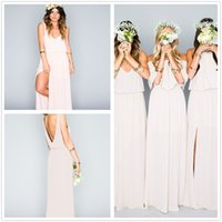 Wholesale Blue Coral Loose - 2017 New V Neck Chiffon Long Bridesmaid Dresses Loose Mumu Bohemian Floor Length Summer Beach Wedding Party Evening Dresses