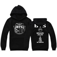 Wholesale Kpop Sale - BTS 2016 fashion harajuku hoodies casual couple clothes hooded women sweatshirt letter print plus size kpop fleece pullover sale