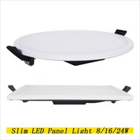 siyah led panel ışık toptan satış-Ultra İnce LED Panel Downlight 8W 16W 24W 32W Yuvarlak / Kare Siyah Isı Radyatör SMD 4014 ile LED Tavan Gömme Işık