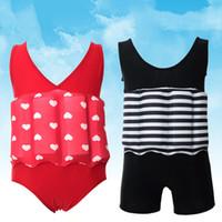 Wholesale Wholesale Baby Boy Swimwear - Wholesale- Floating Buoyancy Baby Boy Girl Swimsuits Detachable Swimwear Siamese Swimming Training Kids Swimming Float Suits