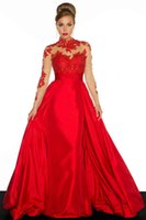 Wholesale Modest Style High Neck Sheer Long Sleeves Open Back Red Black Satin A line Evening Dress Formal Gown Prom New Arrival