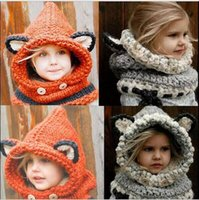 Winter Warme Mädchen Hut Wollmütze Fox Ohr Kinder Caps Protect Ohren Baby Mützen Cartoon Beanie Schal Neck Wrap Set