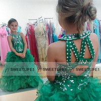 Wholesale Teal Organza Flower Girl Dresses - Organza Teal A Line Sparkly Girls' Pageant Dresses Sleeveless Crew Neck Beaded Crystals Sequins Green Ruffles Princess Flower Girls' Dresses