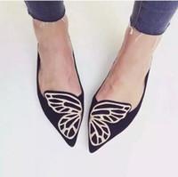 diseñador de mariposas al por mayor-Al por mayor-Zapatos de la mariposa Mujer plana Oxford Zapatos para mujer Slip On Mocasines Zapatos de diseñador para mujer Zapatos planos Plus Size 35-40