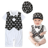 Wholesale Toddler Waistcoat Set - 2016 Clothing Sets Boys Baby Gentleman Rompers Waistcoat Hat 3 Piece Set Newborn Clothing Jumpers Toddler Bodysuit Outfits Infant Clothes