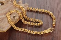 Wholesale chunky yellow jewelry - ZHF JEWELRY 18K Real Gold Filled Mans Necklaces Rock Style Dragon Heads Mens Friendship Fashion Jewelry Chunky Link Chain KX445
