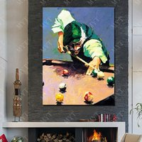 Wholesale Handsome Men Pictures - Play Billiards Wall Picture for Living Room Hand made Picture on Wall Abstract Handsome Man Oil Painting on Canvas No Framed