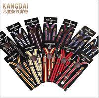 Wholesale Elastic Straps Braces Suspenders - High Quality Kids Stripe Suspenders Adjustable Y-back Braces Clip-on Elastic Suspender Children Belt Baby Straps Accessories Wholesale