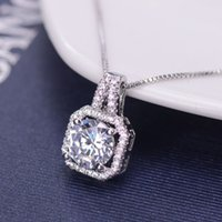 "Wholesale Square Plates Bulk - Women Fashion Square Crystal Zirconia Silver Chain Pendant Necklace Diamond Jewelry Bulk Lots Length 17.7"" inch LR3878"