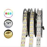 ingrosso illuminazione impermeabile della corda 12v-100M DC 12V 600Led 120led / m impermeabile SMD 5050 RGB Bianco caldo luci di striscia principali tubo di silicone corda doppia fila nastro flessibile nastro luce
