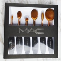 Wholesale Eye Shadow Lip Gloss - MC Gold Foundation brushes Handle Makeup Brushes 6pcs Set MaCosmetic Brushes Contour Kit All Makeup Eye Shadow Brush With Free Lip Gloss