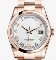 Wholesale Low Price Automatic Watch Brands - Wholesale Lowest Price Luxury Swiss Top Brand Gold Roman Numerals Men Stainless Steel Watches Day Date Mens Automatic Mechanical Wristwatch