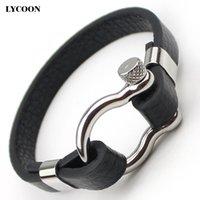 parafusos de couro pulseira venda por atacado-Titânio aço D nó parafuso manguito pulseiras de aço inoxidável polido pulseira de couro genuíno para homens moda design clássico relógio pulseira de pulso