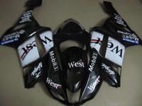 zx6r batı parkurları toptan satış-KAWASAKI Ninja ZX6R 07 08 için 2015 Motosiklet Kaporta kiti ZX6R 636 2007 2008 WEST Beyaz siyah ABS Fairings seti