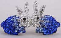 Wholesale Nose Studs Rabbit - 925 sterling silver bunny rabbit stud earrings W  austrian crystal easter jewelry gifts for women girls dropship wholesale HE04
