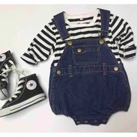 Wholesale Toddler Boy Denim Overalls - Spring Summer 2016 Kids Overall Jeans Clothes Newborn Baby Denim Jumpsuits Toddler Infant Boys Girls Short Pants Cute Suspender Trousers