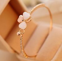 Wholesale Indian Sweets - New Fashion Jewelry Brand Design Sweet Gold Plated Clover Opal Charm Bracelet Exquisite Bracelets Bangle For Women Ladies Little Gift