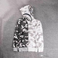 Wholesale camo sweaters - New Luminous Shark Printing Plus Cashmere Sweater Men Women White Camo Hooded Jacket Wom Fashion Cardigan Leisure Fleece Jecket Hoodies Tops