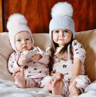 Wholesale Infant Earflap Hat - Baby Hat Winter Pearl Girls Cap Artificial Fur Ball Baby Boy Hats Infant Earflap Caps Wool Knitted Children's Hats Caps