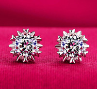 Wholesale Earring Snowflake Silver - 925 Silver Earrings Natural Crystal Wholesale Fashion Snowflake Ear Sutd Earrings with AAA CZ Diamond Jewelry for Women Xmas Gift